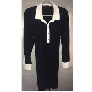 Long sleeve black & white dress